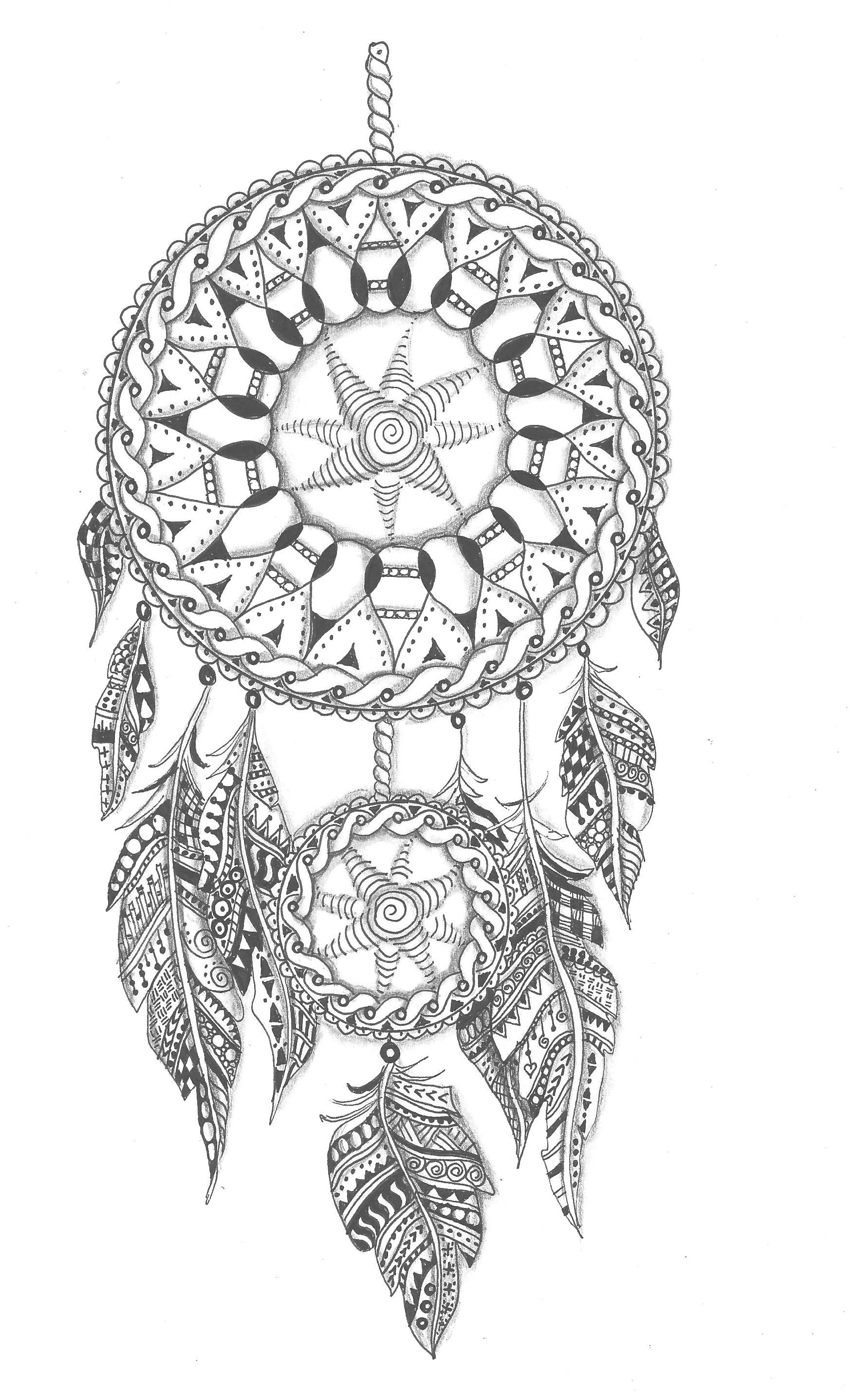 Coloring book art Coloring pages Dream catcher tattoo design