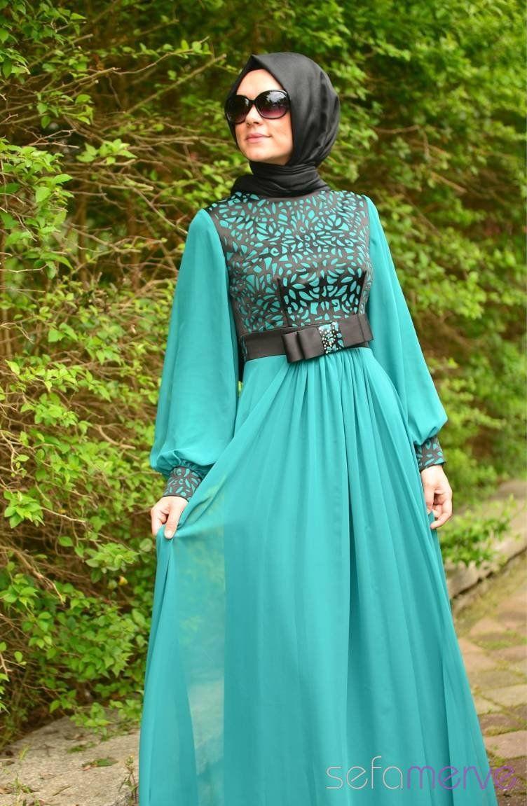Sefamerve Abiye Elbiseler Pdy 4201 02 Petrol Islamic Modest Fashion Fashion Moslem Fashion