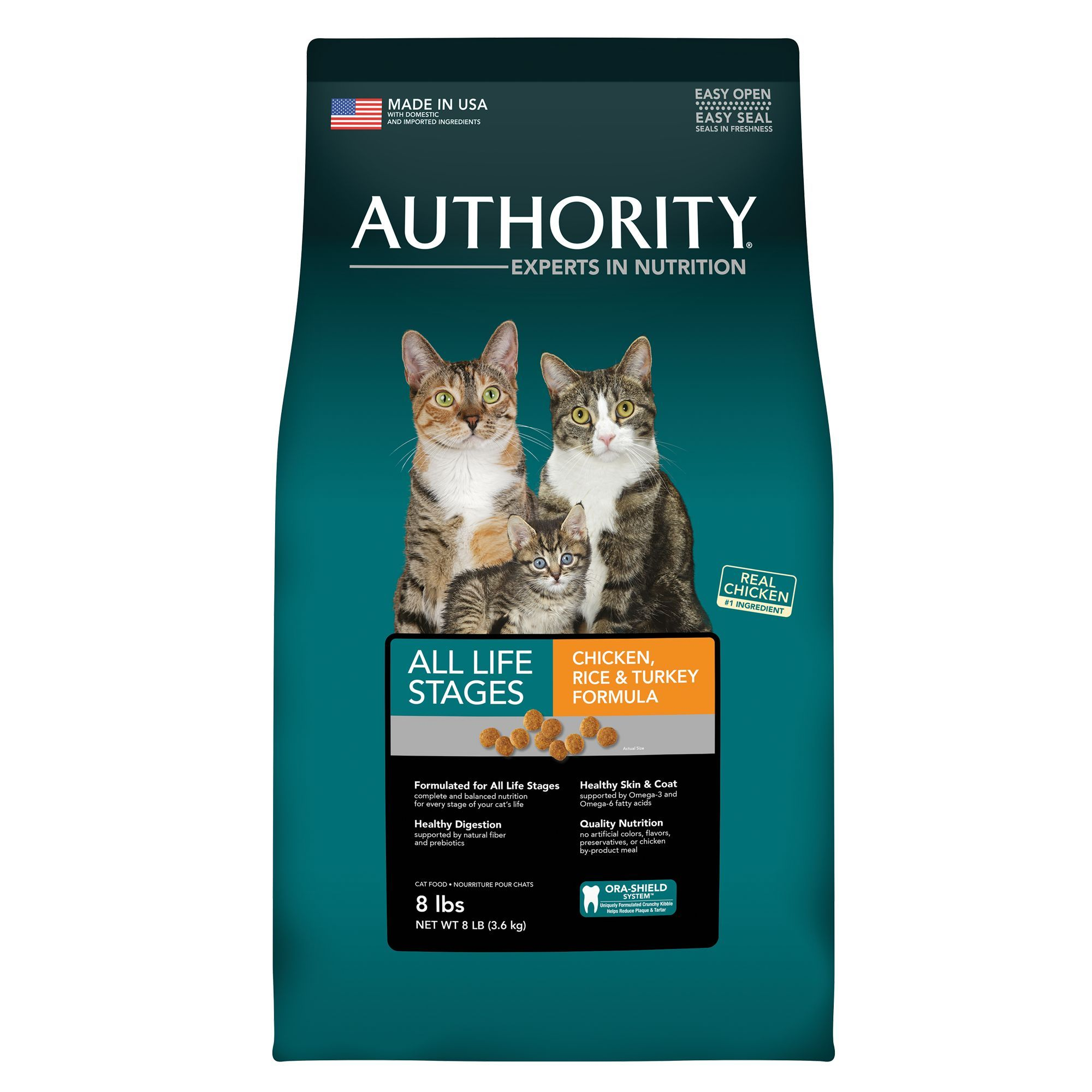 Authority All Life Stages Cat Food Chicken Rice And Turkey Size