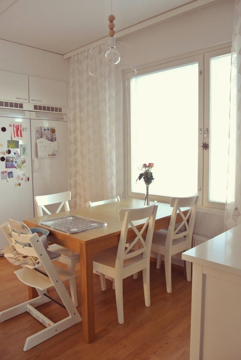 Kitchen with Ikea table, Stokke chairs, DIY lamp