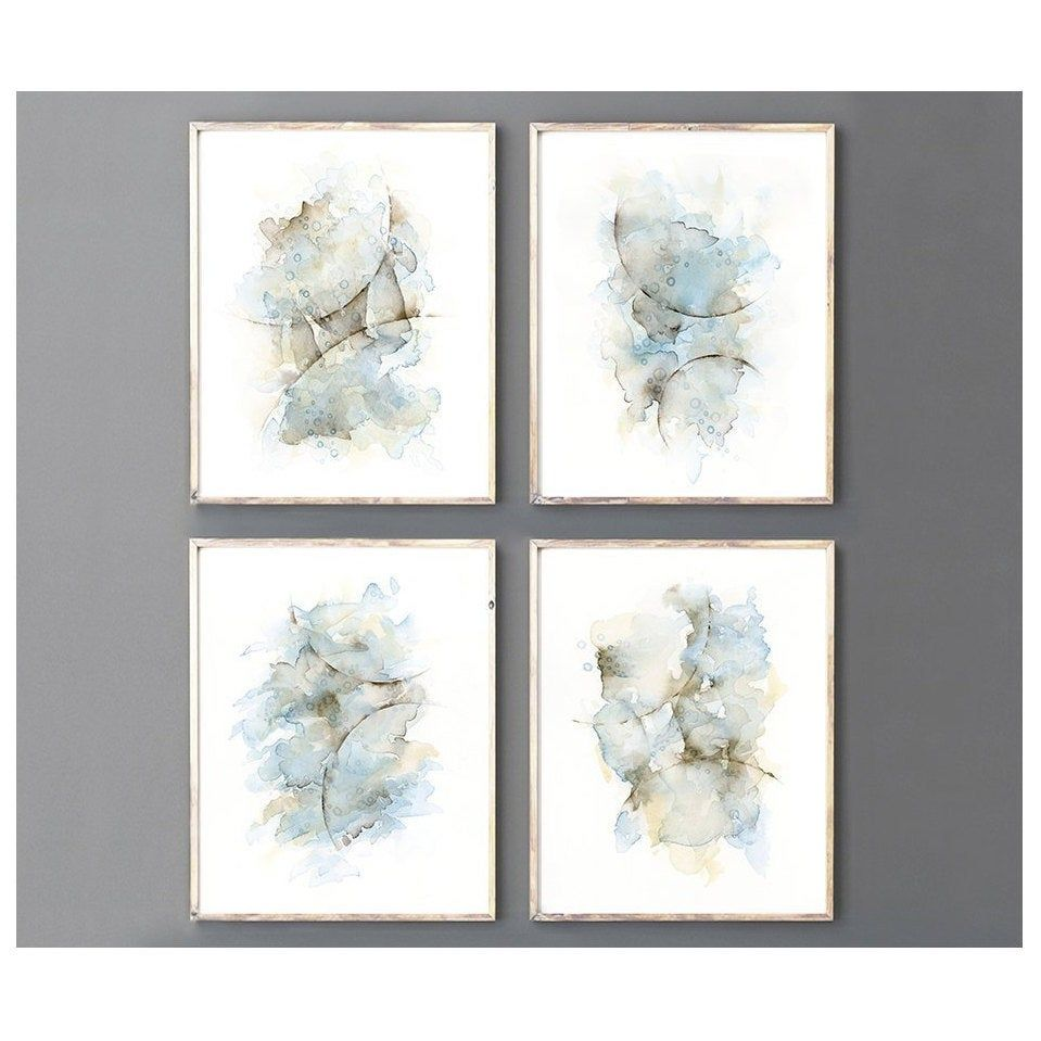 4 Piece Wall Art Print Set Abstract Painting Watercolor In Etsy Bedroom Wall Art Bathroom Wall Art Watercolor Paintings Abstract