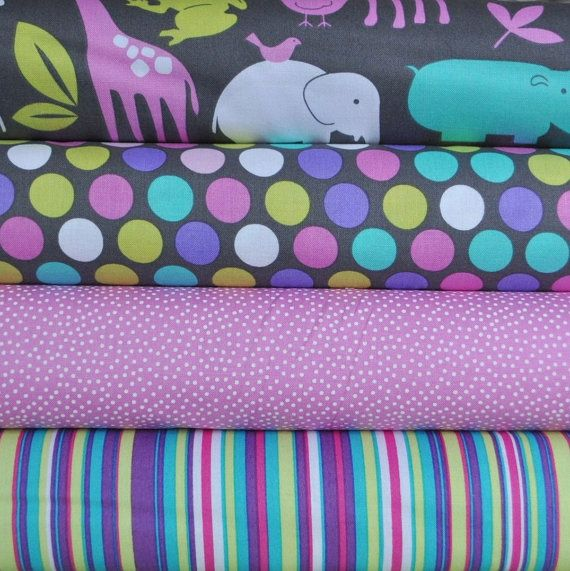 Zoology Orchid 4 Fat Quarters Bundle for Michael Miller, 1 yard total on Etsy, R$26,85
