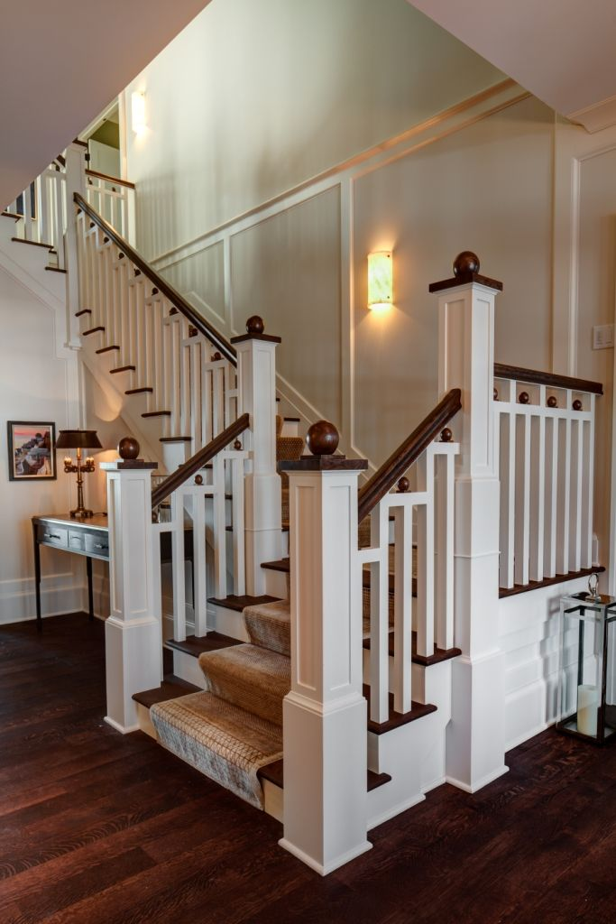 Staircase Paint Grade Balusters Stringer Amp Risers With Walnut Handrail Treads And Newel Caps