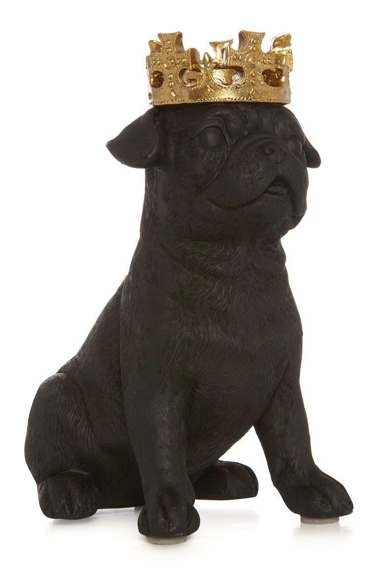 Schwarzer Dekohund Mit Krone Black Dog Dogs Lion Sculpture