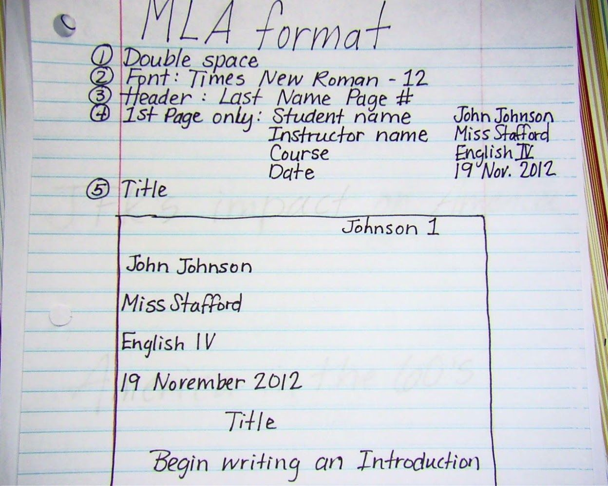 high school mla heading format for all assignments