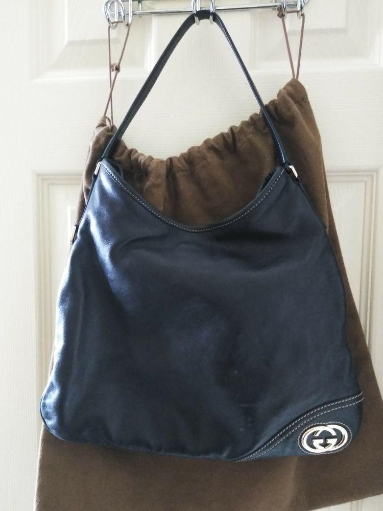 Gucci Soft Black Leather Hobo Bag Euc Purses Fashion