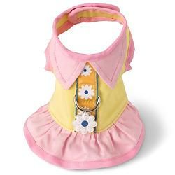 YELLOW AND PINK FLOWER DOG HARNESS DRESS