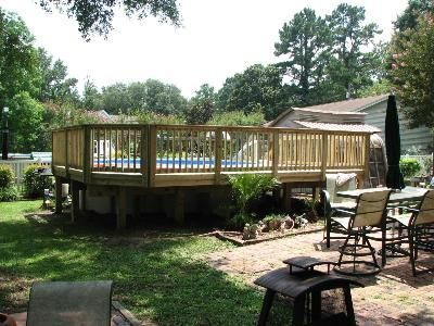 Nice wood above ground deck above ground pool decks - Nice above ground pools ...