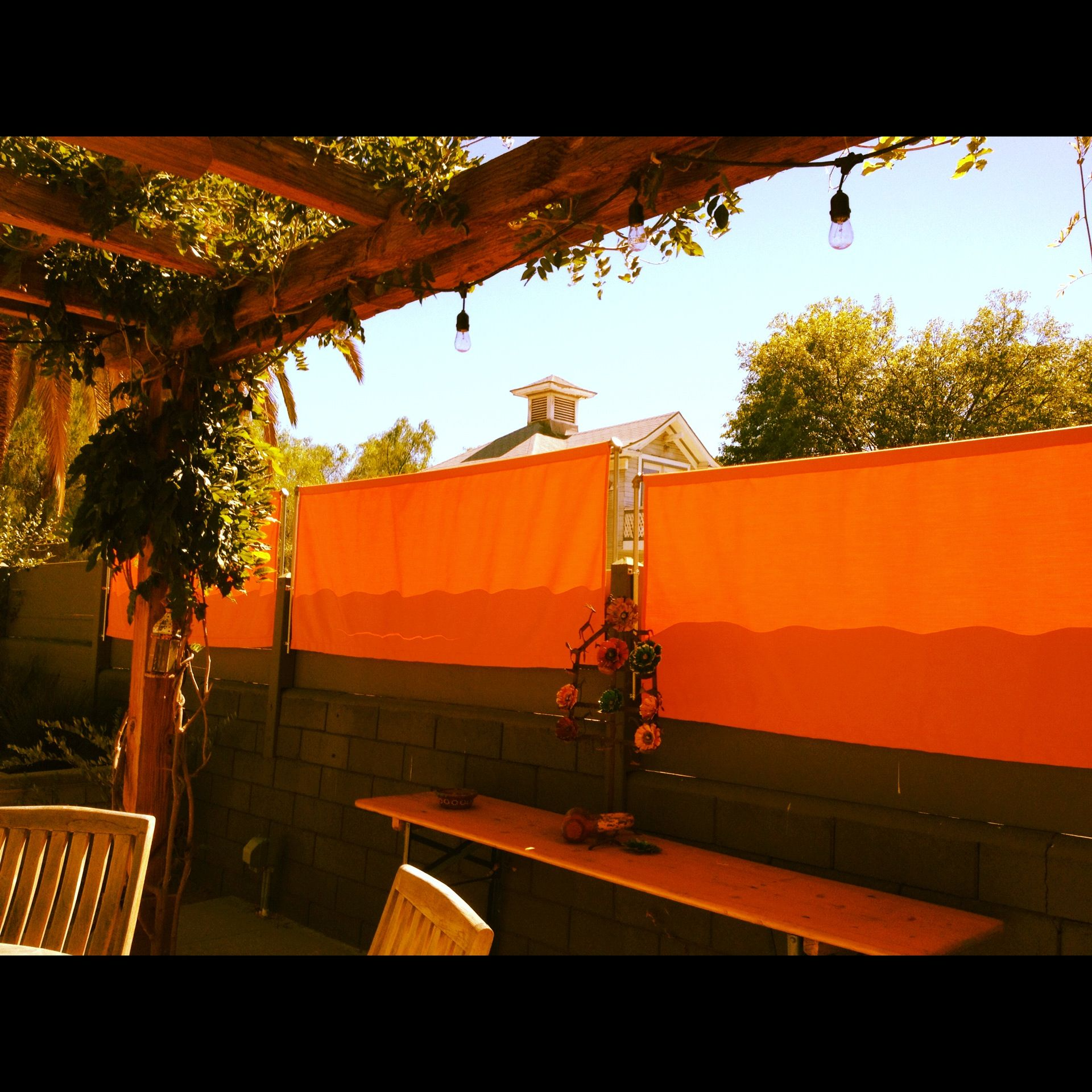 Marvelous Outdoor Privacy Panels From Tangerine Sunbrella Fabric. Wow, This Idea  Could Go Anywhere Outside