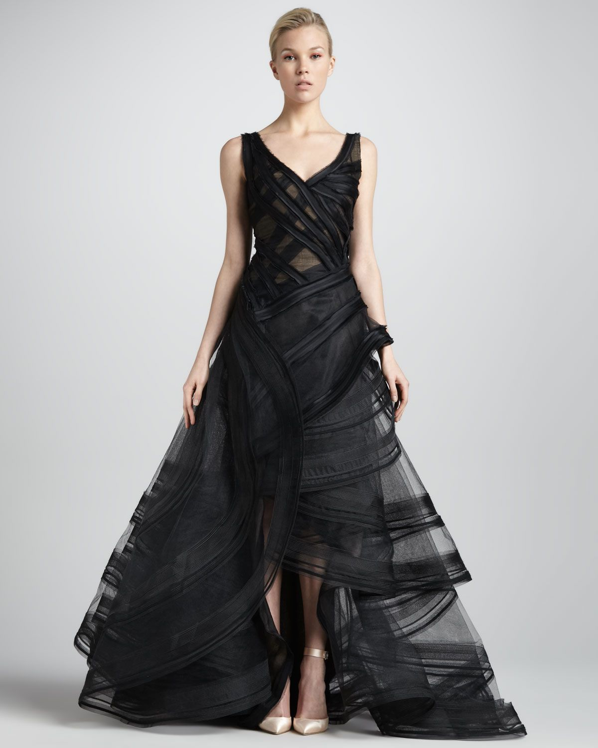 Zac Posen Tiered High-Low Organza Ball Gown, Black - Neiman Marcus ...