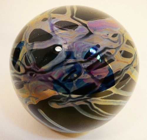 "1987 Mark Matthews 3"" Blue and Silver Art Glass Sphere Paperweight"
