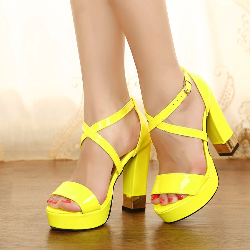 1000  images about Thick heeled neon sandals on Pinterest ...