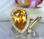 Interessanter Citrin Tropfen Brillanten Ring image