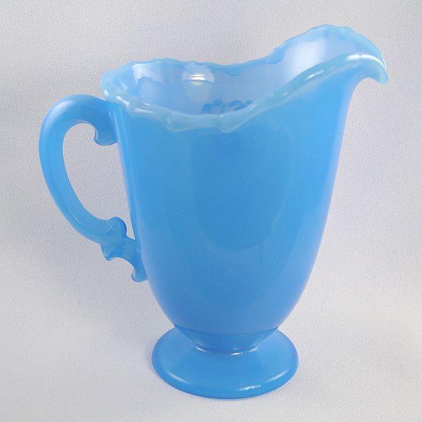 fenton pitchers | Fenton Glass Sky Blue Pitcher Dandelion Breeze Design