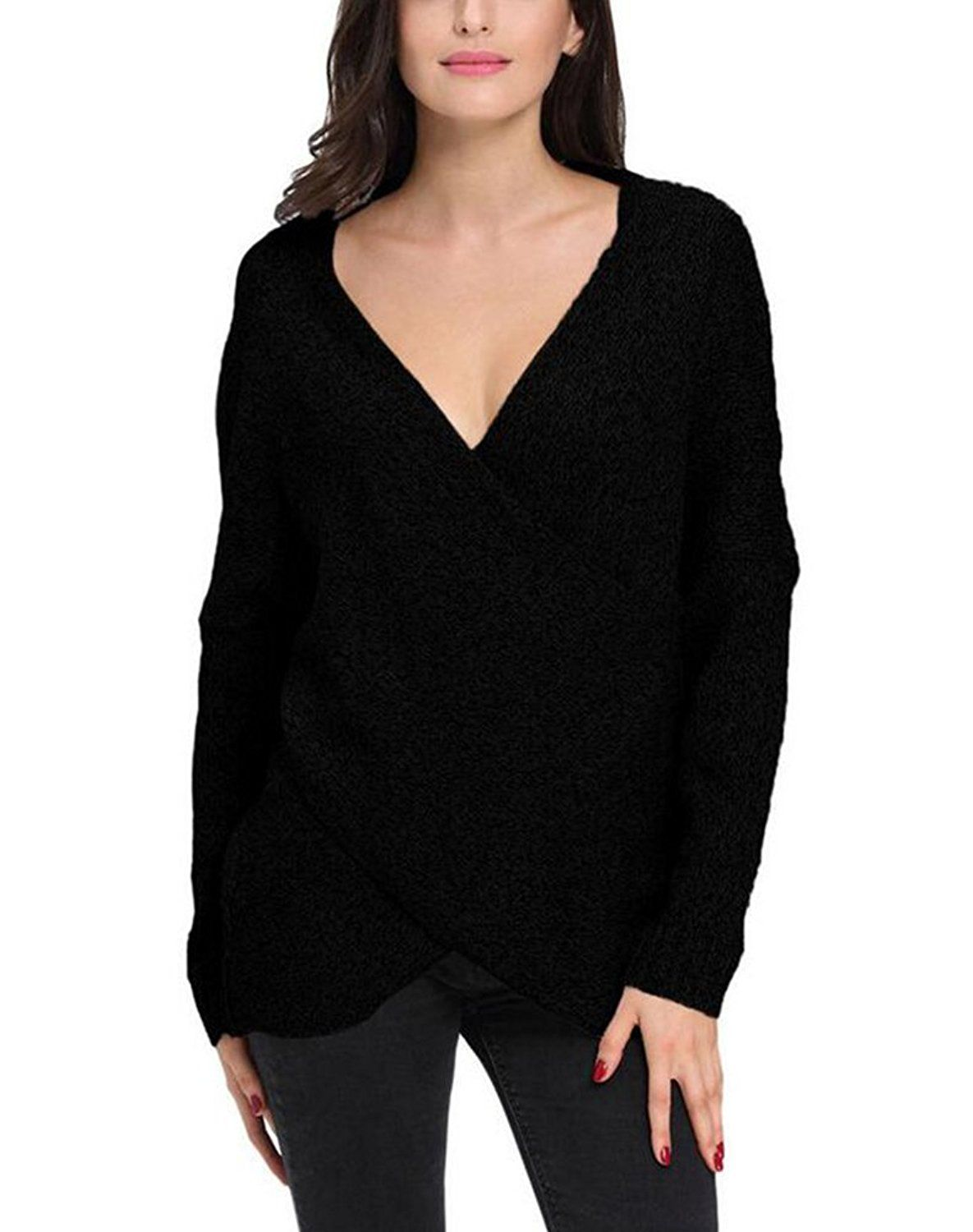 9f2d8187a165b1 Price: £29.90 Sale: £9.90 MissSoul Womens Knitted Jumpers Drop Shoulder  Sweatshirt Cross Wrap Pullover Sweater Tops: Amazon.co.uk: Clothing
