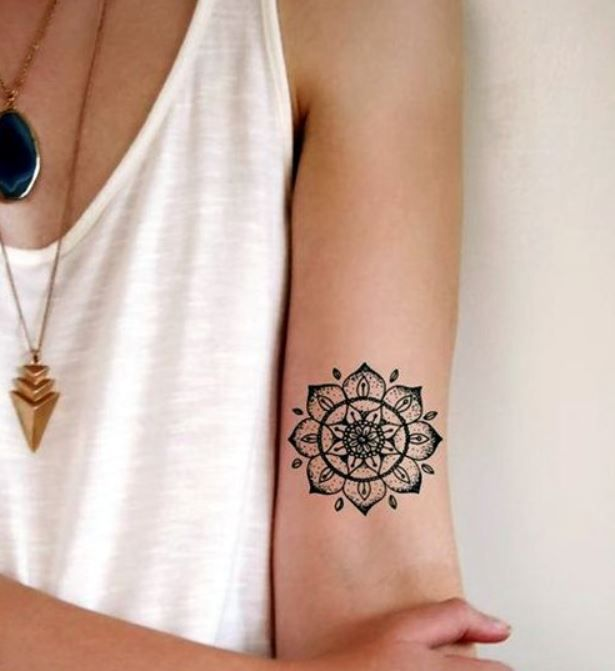 foto,tatuaggio,mandala,sul,braccio , Lei Trendy Mandala Tattoos For Women