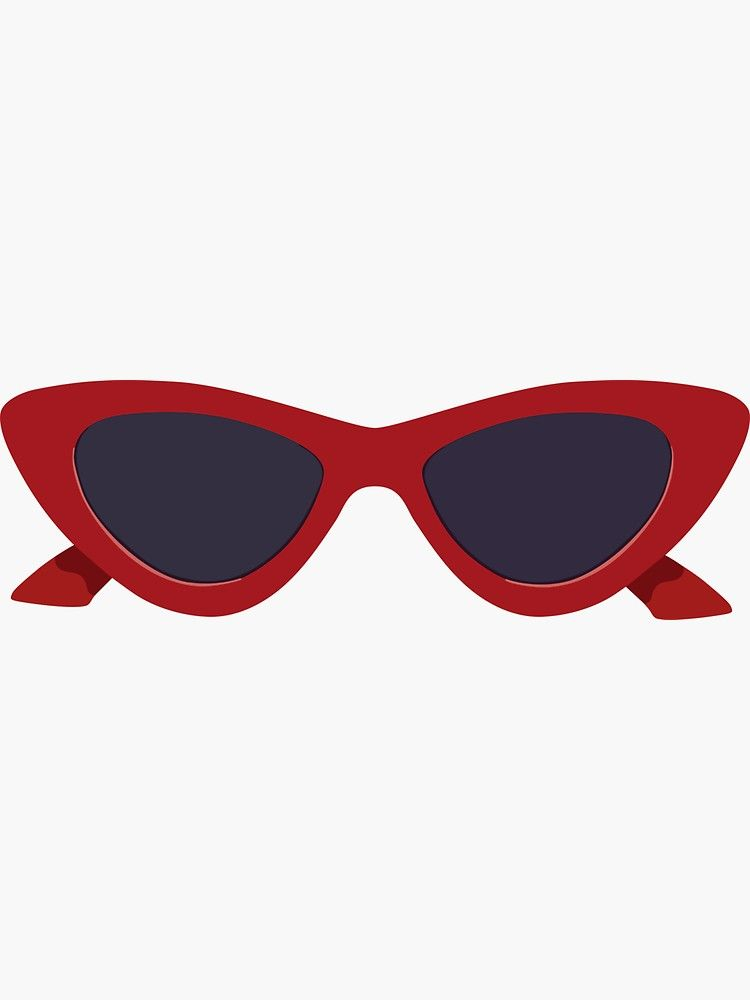 Red Sunglasses Sticker By Lexanna Redbubble In 2020 Red Sunglasses Summer Wallpaper Phone Kawaii Illustration