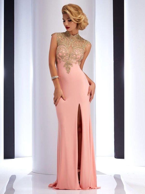 Sheath Column High Neck Floor Length Chiffon Prom Dresses Evening Dresses Sp5662 Prom Dresses Prom Dresses 2016 Chiffon Prom Dress