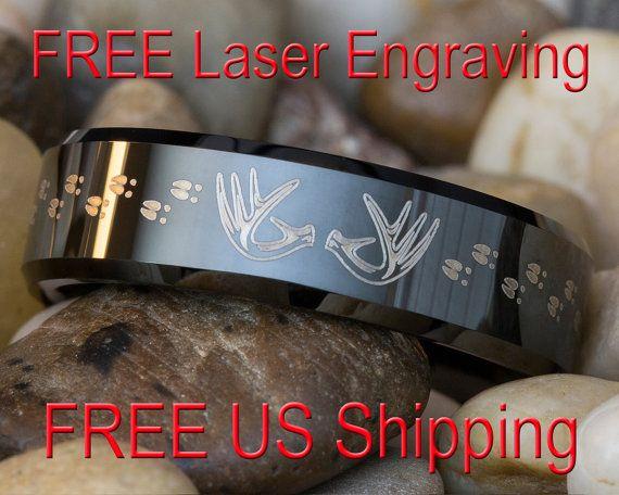 Tungsten Ring 7mm Black Beveled Antlers and Deer Tracks Lasered Design-Free Inside Engraving