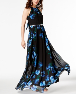 2fee365262f I.n.c. Petite Printed Belted Halter Maxi Dress