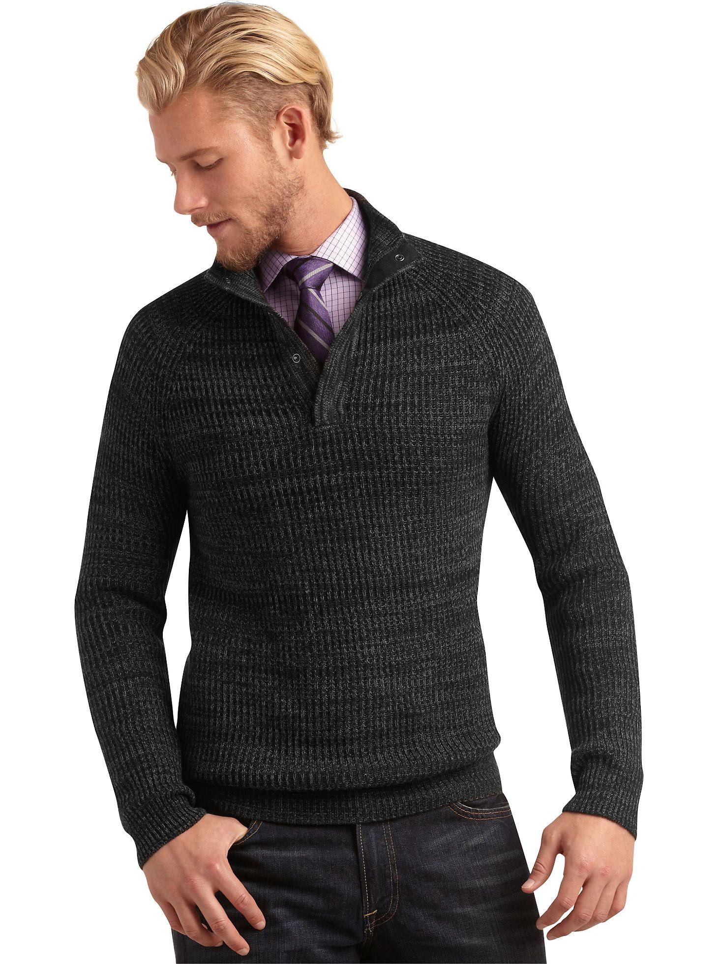 Sweaters & Vests - Pronto Blue Half Button Front Sweater, Black ...