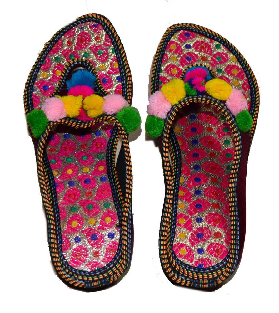 68d30cc490d314 NEW US SIZE 9 WOMENS FLAT SLIPPERS DOUBLE EMBROIDERY MEHROON INDIAN SANDAL   fashion  clothing