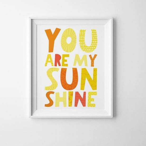You Are My Sunshine Free Printable Art Print. Such a cute wall decor ...