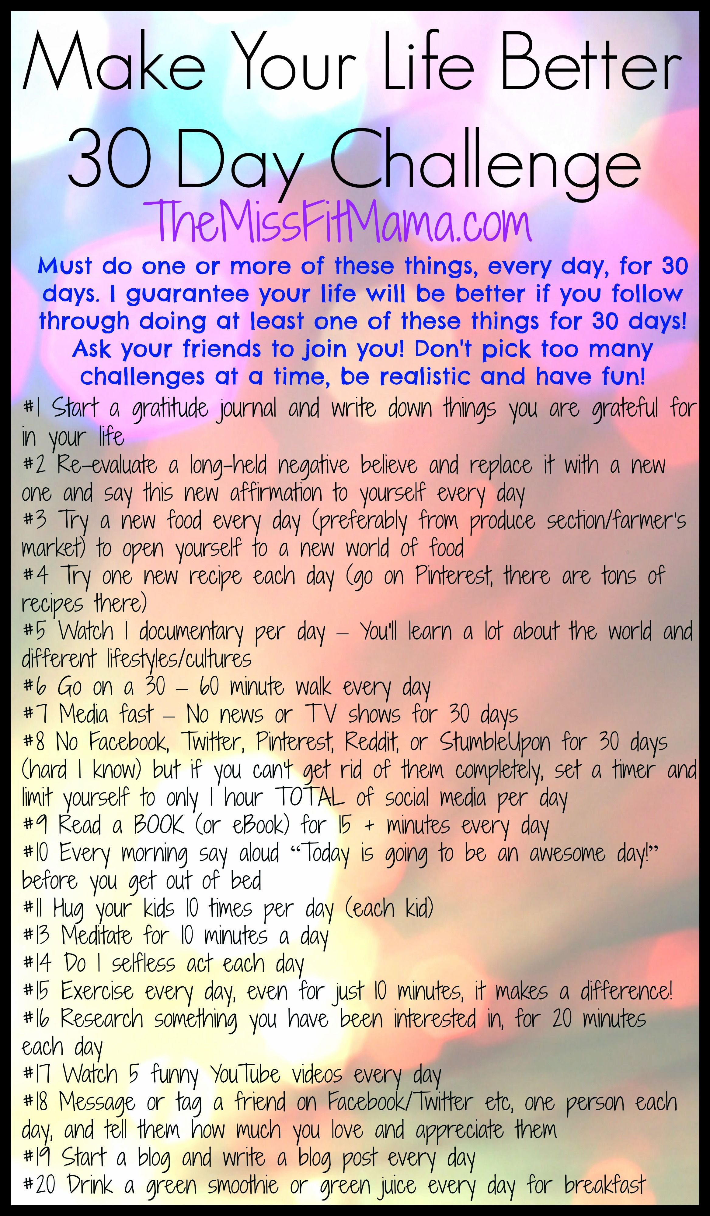 Join The Make Your Life Better 30 Day Challenge