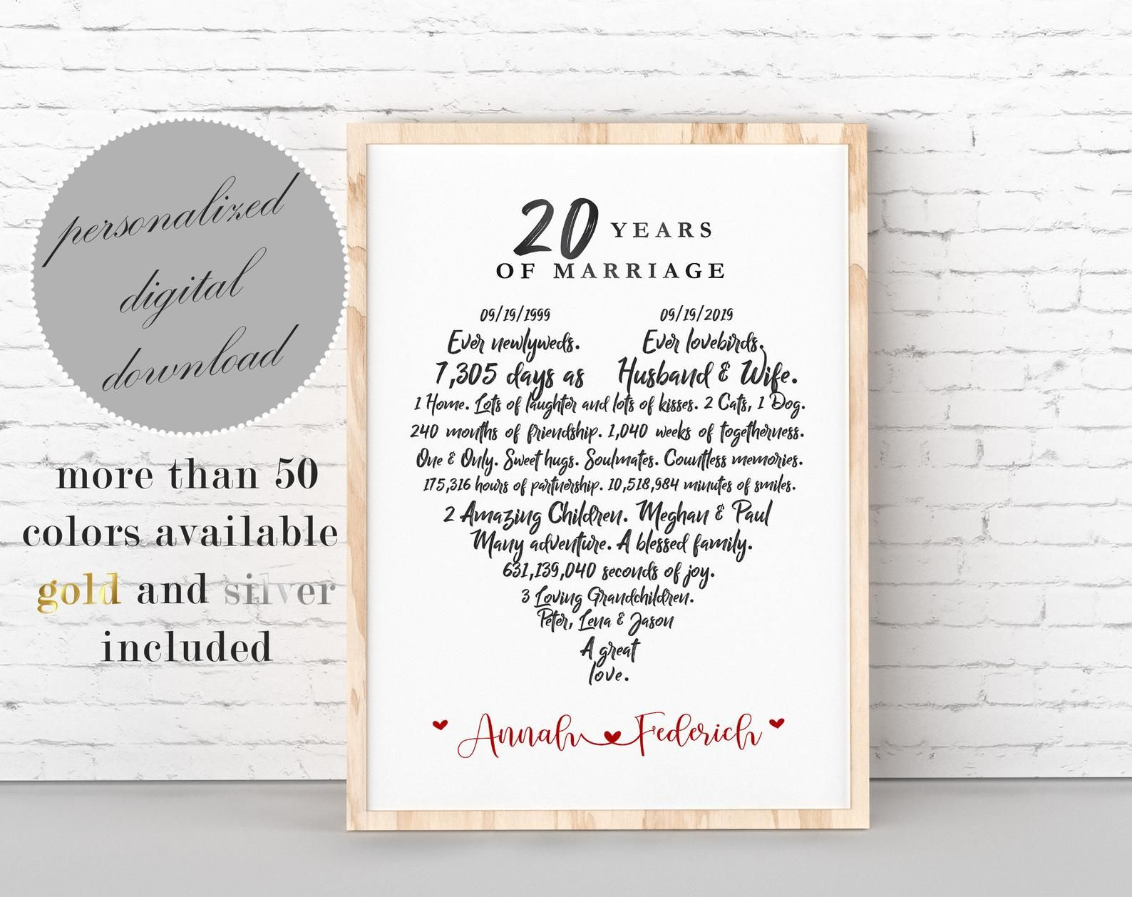 20th Anniversary Gift, Personalized 20 Year Wedding