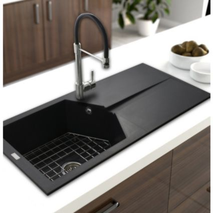 Cooke & Lewis Zeol 1 Bowl Volcano Black Matt Composite Sink ...