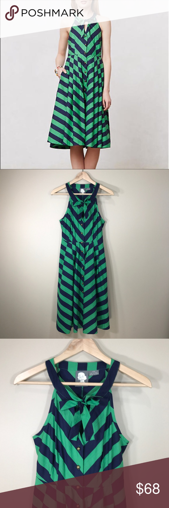ee58eb26ef Anthro Girls from Savoy emerald ripple dress sz 0 Gorgeous navy and green  hunter chevron pattern shirt dress from Girls from Savoy