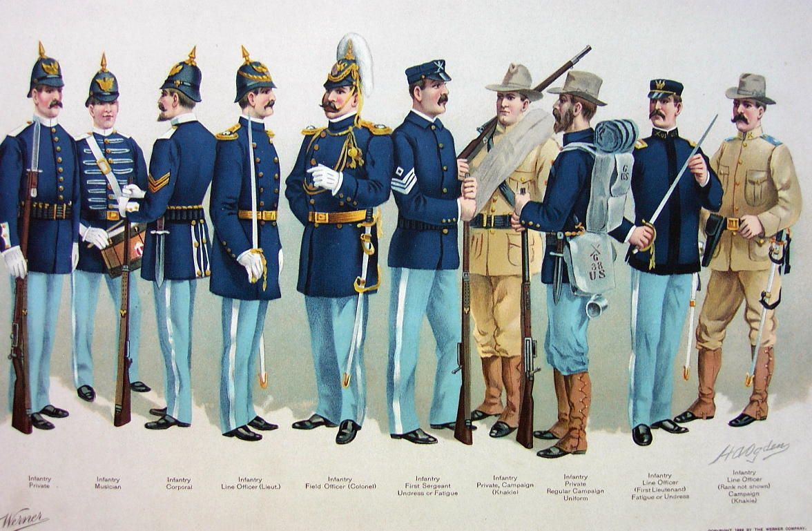 Us Army 1899 Uniforms Infantry Private Colonel Line Officer Color Litho Print Us Army Uniforms Military Uniform Army Uniform
