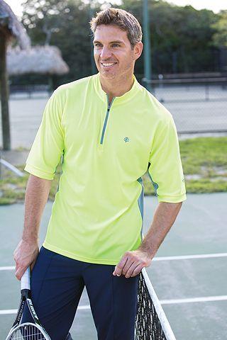 Quarter Zip Short Sleeve Fitness Pullover Limelight Sun Protective Clothing Coolibar Mens Tops