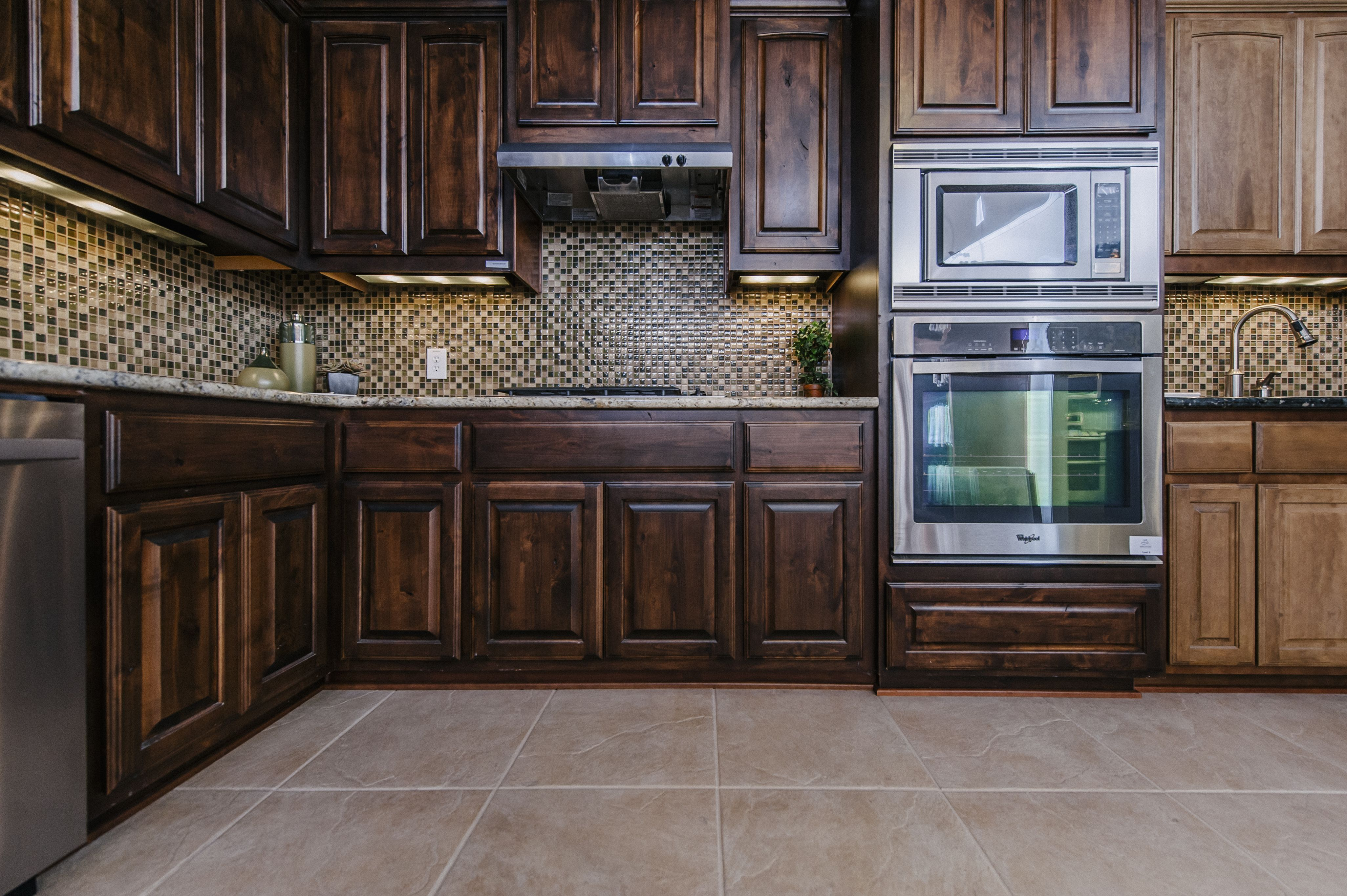 Decorations Dark Walnut Kitchen Cabinets Wuth Mosaic Backsplash ...