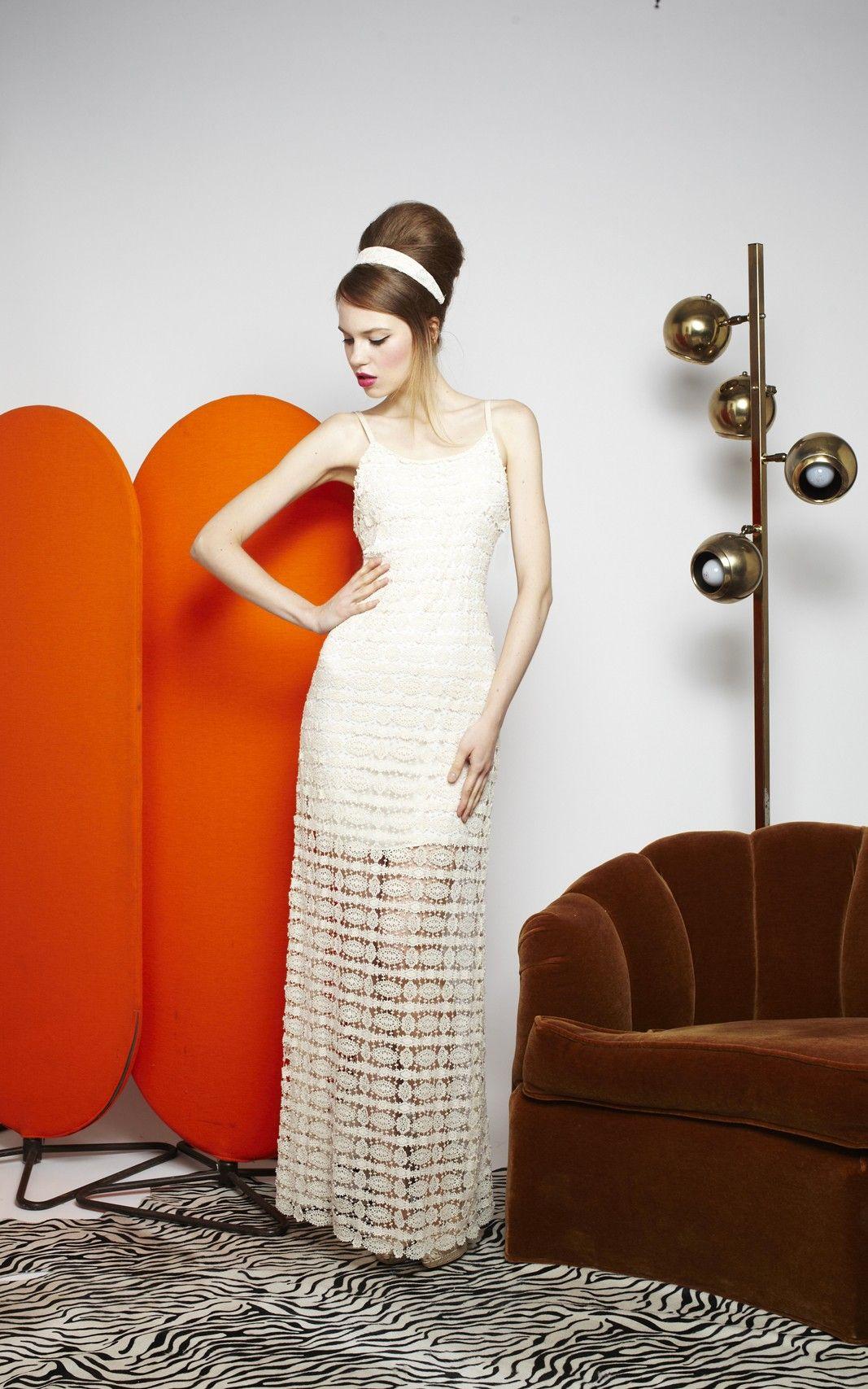 Anora Long Crochet Dress Alice Olivia