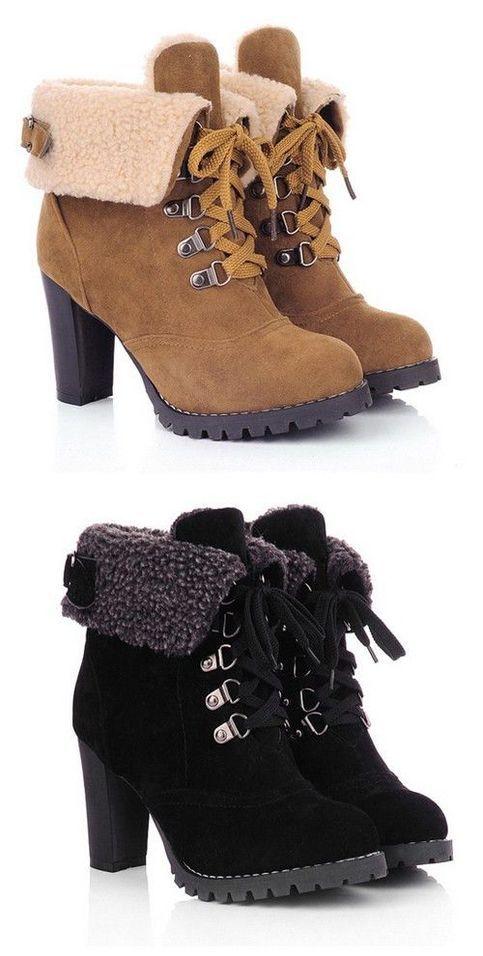 Chunky Heel Foldover Booties Black Boots Q-0654