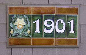House Numbers Art Nouveau Tiles Ceramic House Numbers Arts Crafts Style
