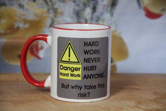 Personalized work or birthday mug Warning Hard Work by JannersMugs $12.45 USD