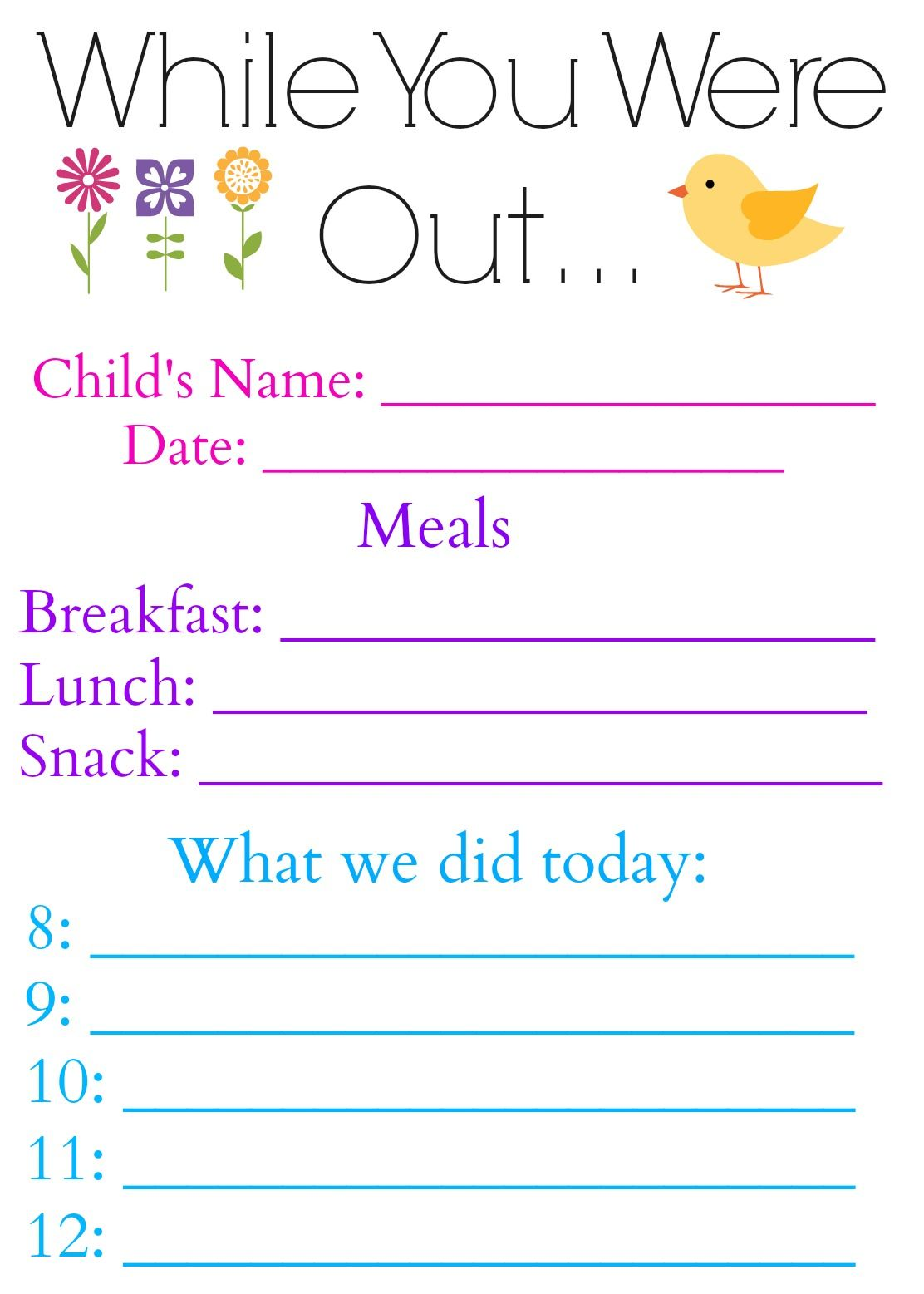 while you were out daily log form for babysitter or nanny