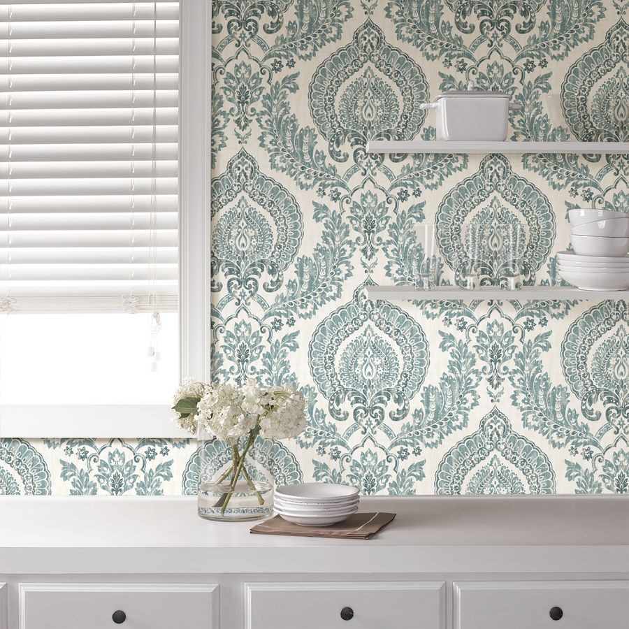 NuWallpaper 30sq ft Blue Vinyl Damask Peel And Stick