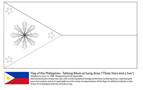 Flag of the philippines coloring page from asian flags for Philippines flag coloring page