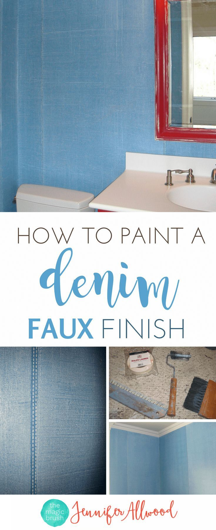 How to paint a Denim Faux Finish in a Boys Bedroom