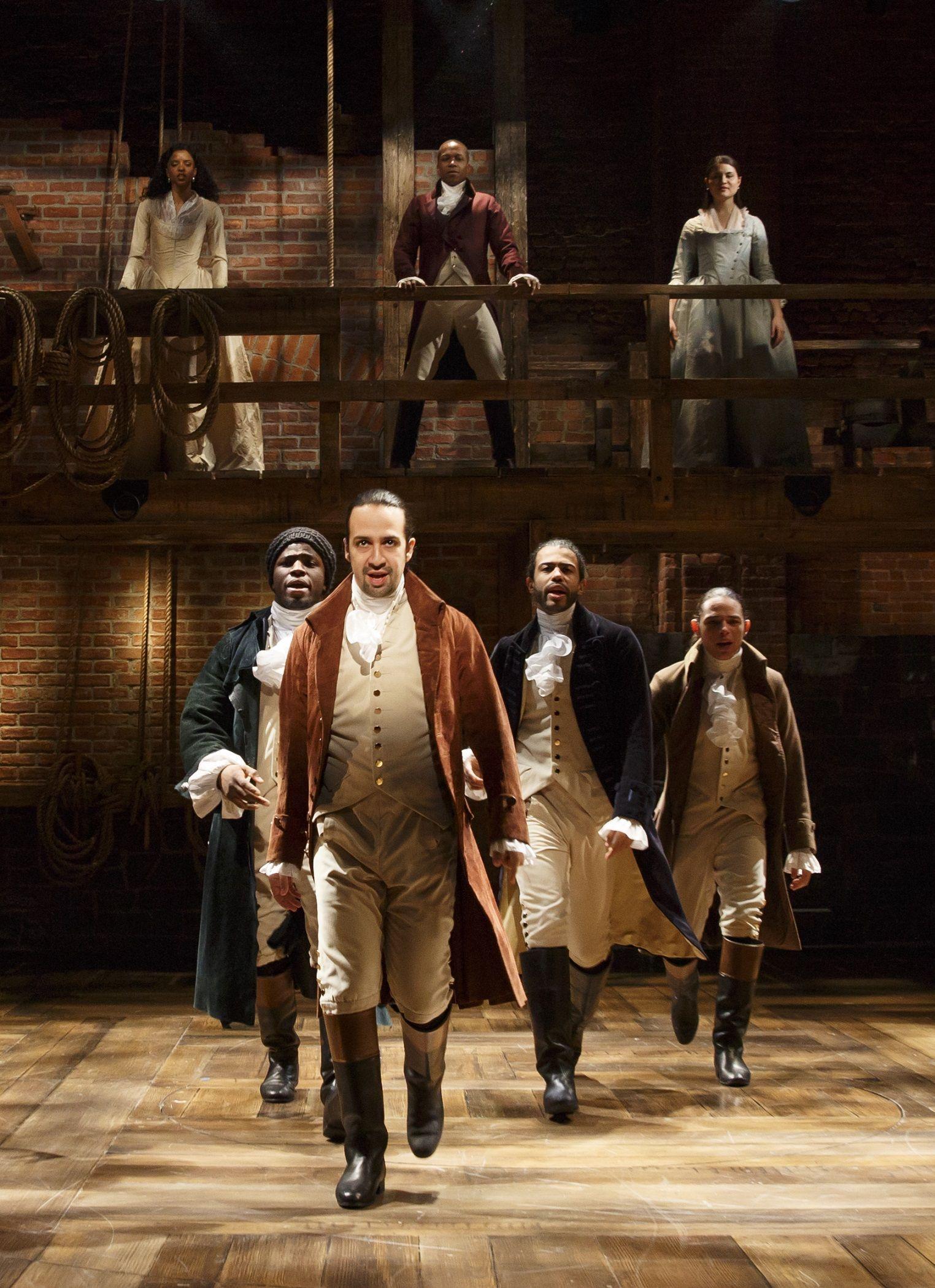 Angelica Schuyler, Aaron Burr, Eliza Schuyler- Hamilton, Hercules Mulligan, Alexander Hamilton, Marquis de Lafayette, and John Laurens