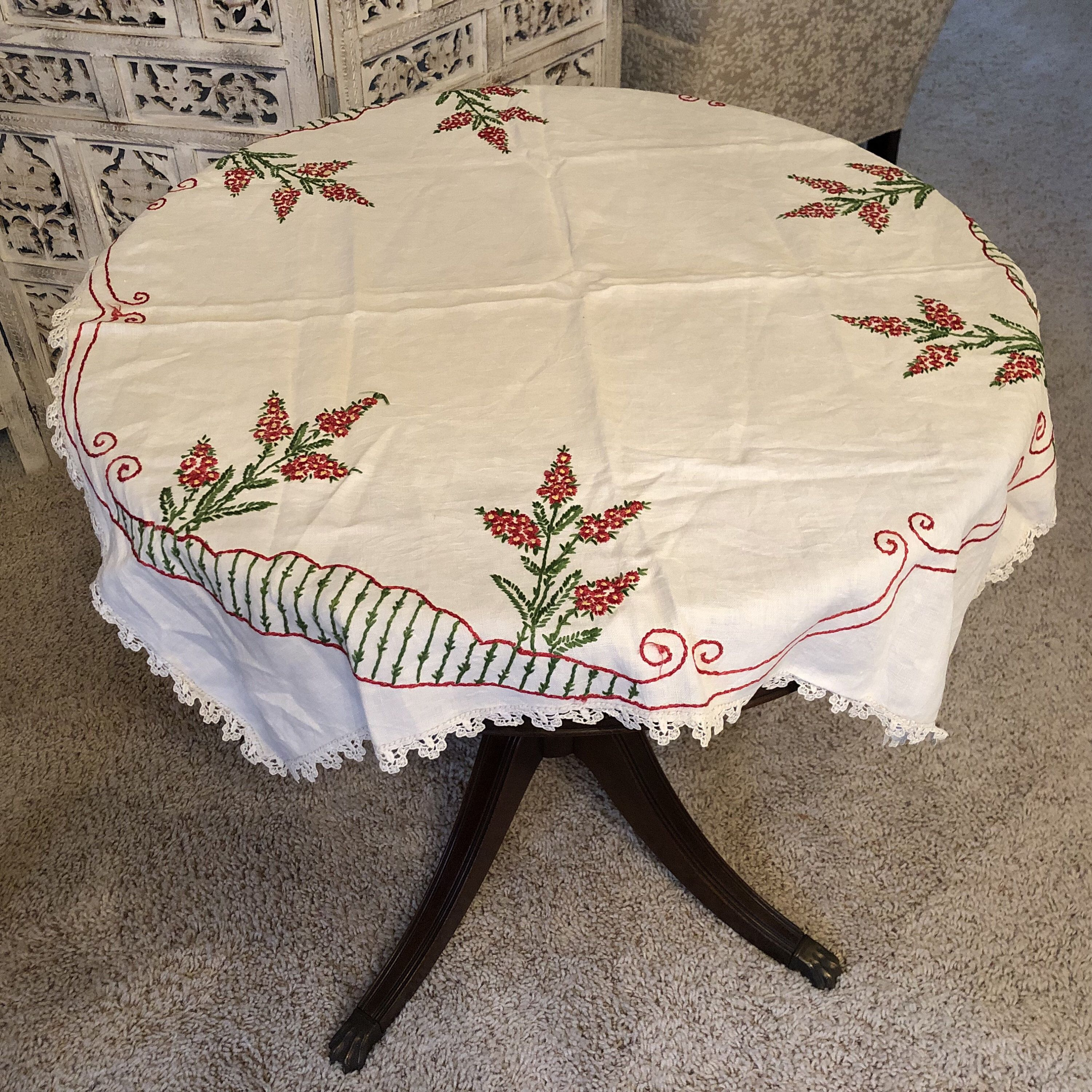 Christmas Tablecloth Vintage Hand Embroidered White Linen Square