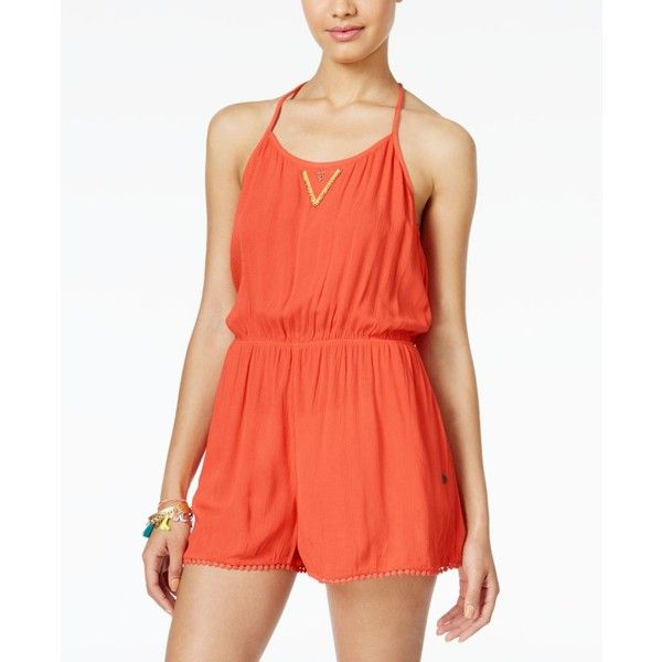 336824109f Roxy Juniors  Beauty Brigade Sleeveless Embellished Romper ( 45) ❤ liked on  Polyvore featuring jumpsuits