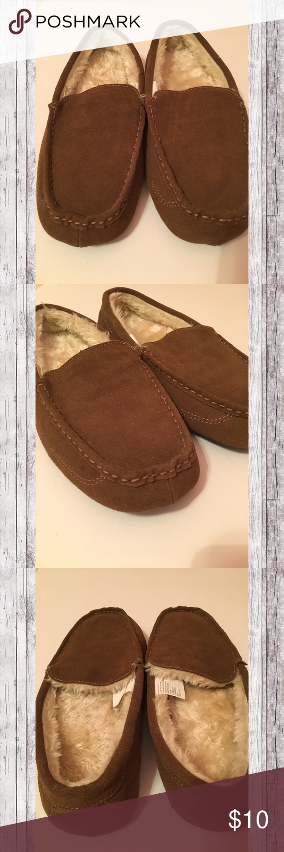 e2ed0a26309d Target Men s Faux Fur Lined House Shoes Brown slippers with cream colored  fur from Target.