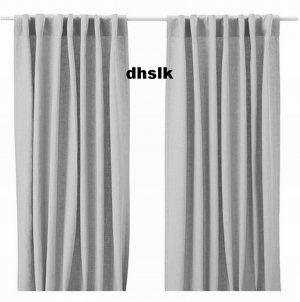 Ikea Aina Curtains Drapes Light Gray Grey Linen 98 Long