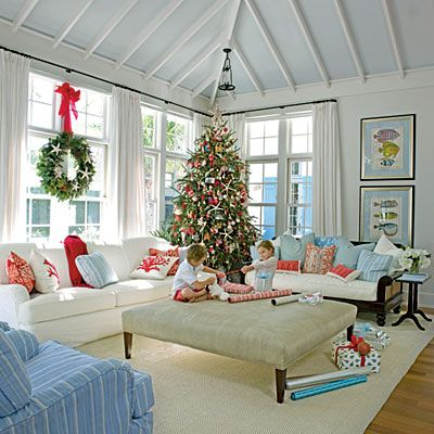 Festive Holiday Rooms  Coastal Christmas Modern Beach Decor And Cool Living Room Beach Decorating Ideas Decorating Inspiration