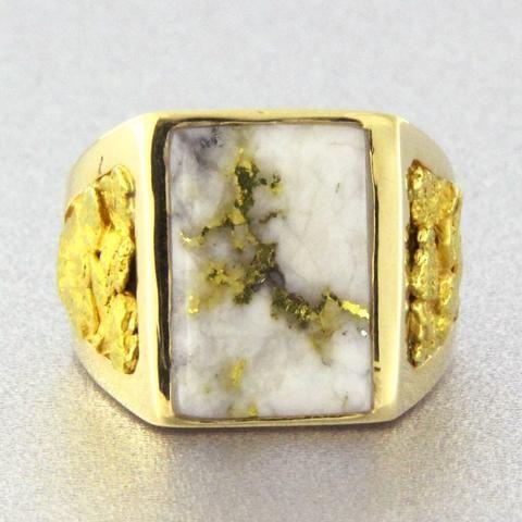 7c04026a0dff9 Natural Gold Quartz & Gold Nugget Men's Ring – Aurora Jewelers ...