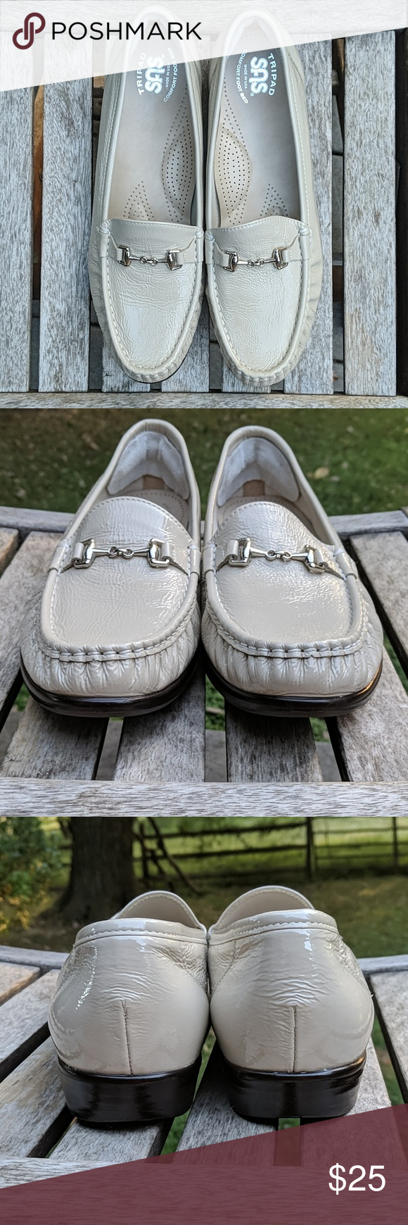 SAS Metro Slip-on Loafer Patent Leather NARROW Excellent pre-owned condition. Comfort pads have been placed on heels (pictured).  This style was designed to provide wiggle room at the toe and meant to hug in the back without rubbing or biting. You'll come to love Mondays when you slip into the foot-hugging comfort of the Metro moccasin. Soft and supple leather uppers with a hand laced moccasin toe and metal bit at vamp. Easy slip-on design. Ultra-soft leather linings for a cozy and breathable we #pictureplacemeant